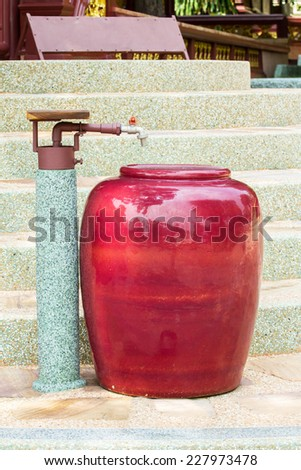 Jar with water faucet. - stock photo