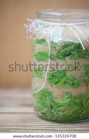 Jar with young spruce sprouts and cane sugar - making spruce syrup, alternative medicine for cough, cold or flu