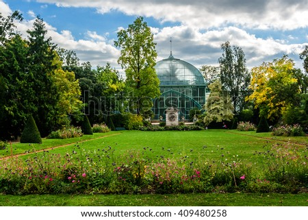Jardin des Serres d'Auteuil - botanical garden set within a major greenhouse complex located at southern edge of Bois de Boulogne, Paris, France. Served as a botanical garden in 1761 under Louis XV. - stock photo