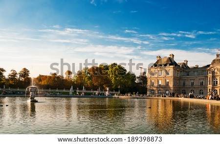 Jardin du Luxembourg - Luxembourg public gardens and French Senate in Paris, France