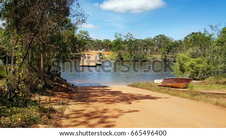 Jardine river ferry in the remote part of far north Queensland Australia