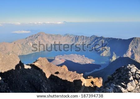 Jari Baru Mount from the top of Mount of Rinjani, Lombok, Indonesia. - stock photo