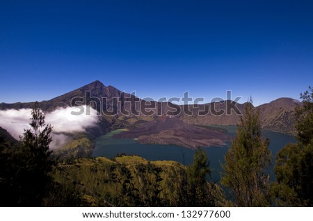 Jari Baru Mount inside Mount of Rinjani, Lombok, Indonesia. - stock photo