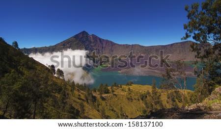 Jari Baru Mount inside Mount of Rinjani, Lombok, Indonesia. - stock photo