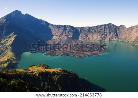 Jari Baru volcano and lake inside  Rinjani mountain, Lombok, Ind - stock photo