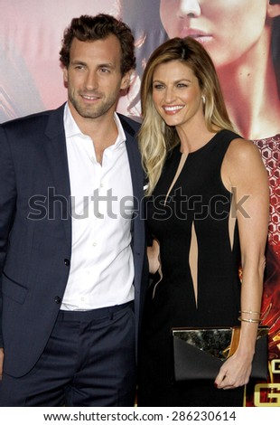 "Jarret Stoll and Erin Andrews at the Los Angeles premiere of ""The Hunger Games: Catching Fire"" held at the Nokia Theatre L.A. Live in Los Angeles on November 18, 2013."