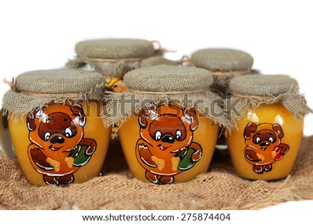 jars of honey - stock photo