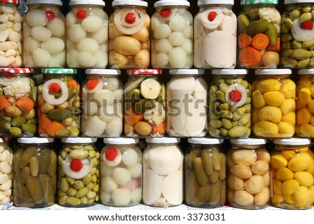 Jars of traditional Brazilian vegetables from the state of Goias.