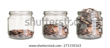 jars with different level of coins isolated on white