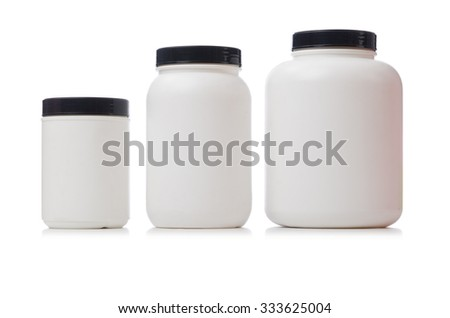 Jars with food additive protein isolated on white - stock photo