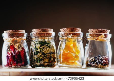 Jars with spices and pasta