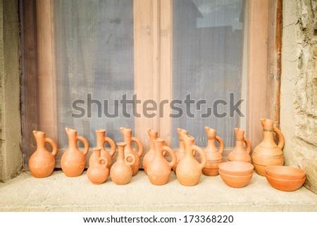 jars with wine - stock photo