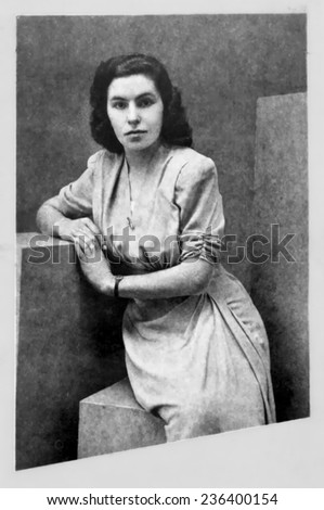 JASLO,POLAND - CIRCA 1947:vintage atelier photo of young woman