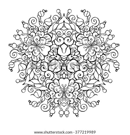 Jasmin Abstract Flower Mandala Hand Drawn On Paper In Black And White Outlines For Adult Coloring