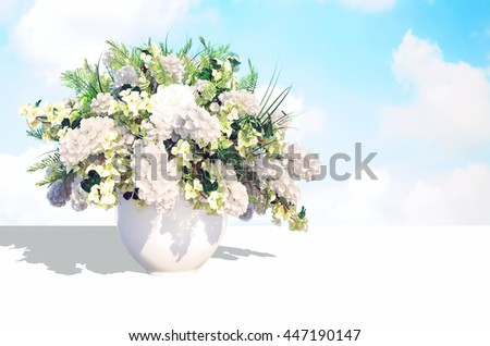 Jasmine bouquet in a white vase on a white table against  the sky background. 3D illustration
