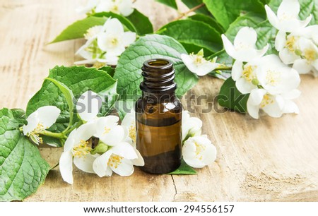 Jasmine Essence in a Bottle with Jasmine Flowers on Wooden Background
