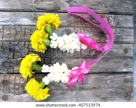 """Jasmine garland/ flowers and using them in decorations, which are different from other places. Thai garlands called """"Phuang Malai"""" - stock photo"""