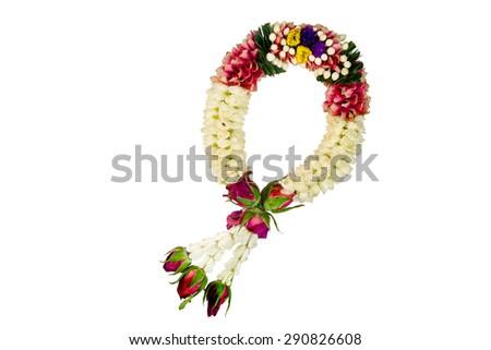 Jasmine garland isolated on white background - stock photo