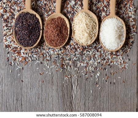 Jasmine rice, Brown rice, Red rice,Black rice, Mixed rice and Riceberry texture for background