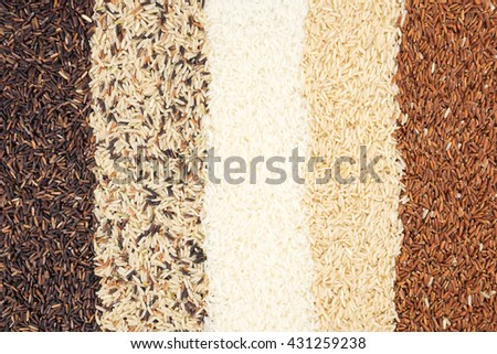 Jasmine rice, Brown rice, Red rice, Mixed rice and Riceberry texture for background.