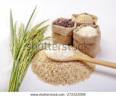 Jasmine rice, Coarse rice Brown Rice - stock photo