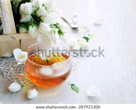 jasmine tea, background for text - stock photo