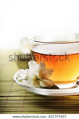 Jasmine tea cup with white background