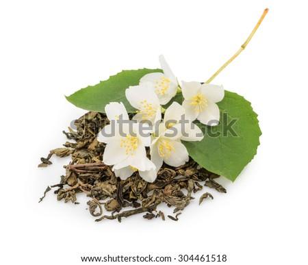 jasmine tea with jasmine flowers isolated on white background - stock photo
