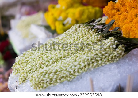 Jasmines garland on ice for buddhist religious ceremony - stock photo