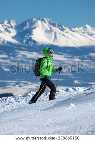 JASNA, SLOVAKIA - FEBRUARY 18: Skialp at resort Jasna at Low Tatras mountains on February 18, 2015 in Jasna