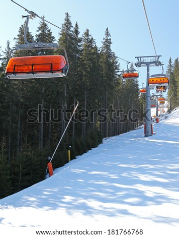 JASNA, SLOVAKIA - MARCH 13: Modern cableway in ski resort Jasna - Low Tatras mountains on March 13, 2014 in Jasna