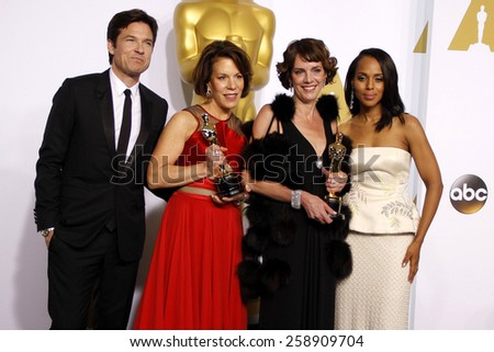 Jason Bateman, Ellen Goosenberg Kent, Dana Perry and Kerry Washington pose in the press room during the 87th Annual Academy Awards at Loews Hollywood Hotel on February 22, 2015 in Hollywood. - stock photo