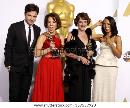 Jason Bateman, Kerry Washington, Dana Perry and Ellen Goosenberg Kent at the 87th Annual Academy Awards - Press Room held at the Loews Hollywood Hotel in Los Angeles, USA on February 22, 2015. - stock photo