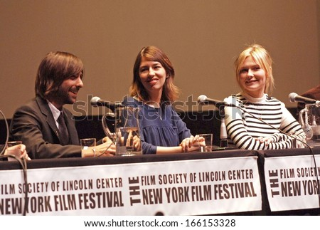 Jason Schwartzman, Director Sofia Coppola, Kirsten Dunst at the press conference for Marie Antoinette Press Conference-New York Film Festival, Alice Tully Hall at Lincoln Center, NY, Oct 13, 2006 - stock photo