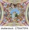 JASOV - JANUARY 2: Fresco of St. John the Baptist by Johann Lucas Kracker from year (1752 - 1776) on baroque ceiling from Premonstratesian cloister in Jasov on January 2, 2014 in Jasov, Slovakia.  - stock photo