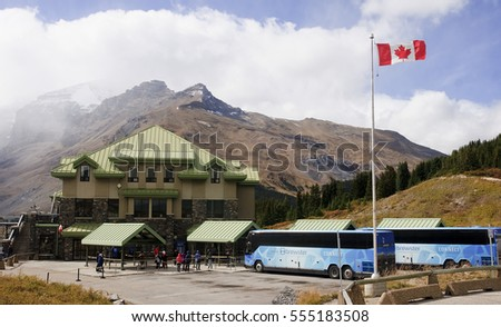 JASPER, CANADA - SEPTEMBER 7, 2016: Columbia Icefields Discowery Center on 7 September 2016 in Jasper, Canada. It is one of the more popular sites in the Rocky Mountains