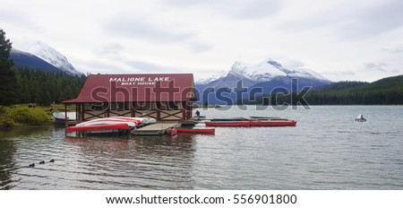JASPER, CANADA - SEPTEMBER 9, 2016: Maligne Lake, Jasper National Park on 9 September 2016 in Jasper, Maligne Lake is one of the major tourist attractions in and around Jasper