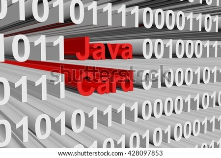 Java Card in the form of binary code, 3D illustration