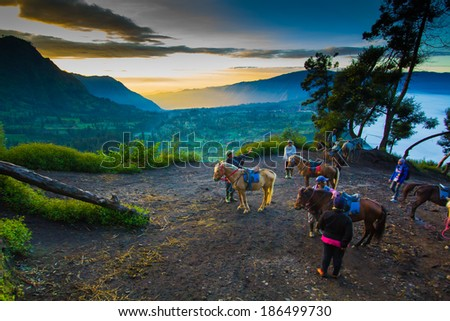 JAVA, INDONESIA - MAY 5: Bromo Volcano on 7 May 2012 in East Java , Indonesia - stock photo