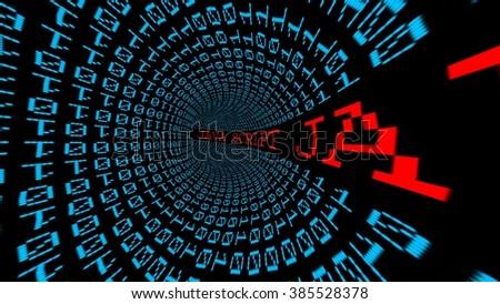 Java script data tunnel - stock photo