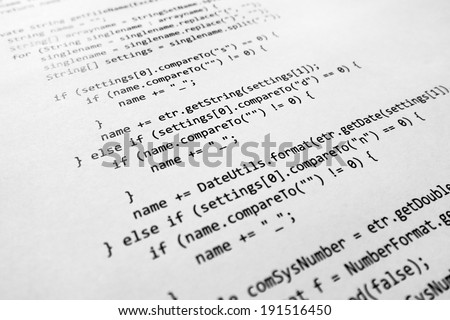 java source code - stock photo