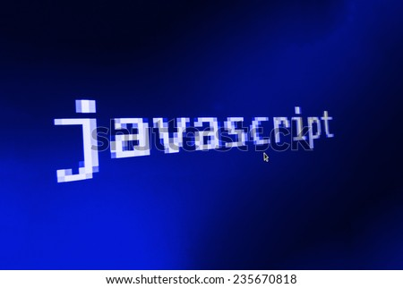 Javascript ( JS )  big title on computer screen and mouse cursor and mouse pointer. Blue background color. Vignette light and dark shadow dramatic effect.  (MORE SIMILAR IN MY GALLERY) - stock photo