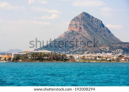 Javea Xabia port marina with Mongo mountain in Alicante Spain - stock photo