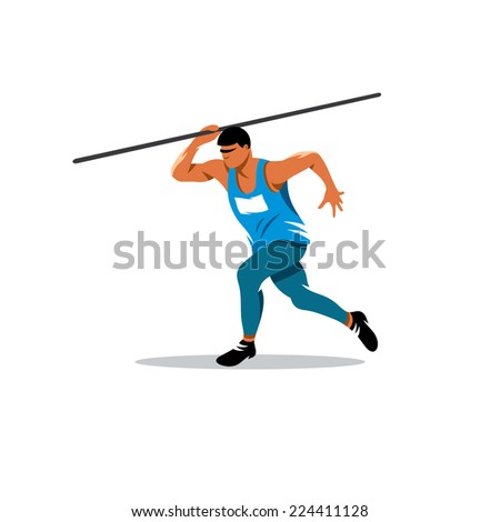 Javelin Thrower sign Branding Identity Corporate logo design template Isolated on a white background