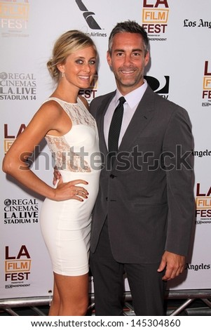 """Jay Harrington and Monica Richards at """"The Way Way Back"""" Premiere as part of the Los Angeles Film Festival, Regal Cinemas, Los Angeles, CA 06-23-13 - stock photo"""