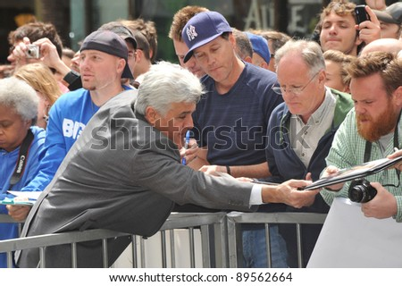 Jay Leno on Hollywood Boulevard where actor Russell Crowe was honored with the 2,404th star on the Hollywood Walk of Fame. April 12, 2010  Los Angeles, CA Picture: Paul Smith / Featureflash - stock photo