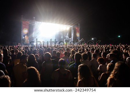 JAZ, MONTENEGRO - JULY 16: Audience infront of the Main Stage at SEA DANCE Festival - EXIT ADVENTURE, during DJAJKOVSKI & TK WONDER performance, on July 16, 2014  at beach Jaz near Budva, Montenegro. - stock photo