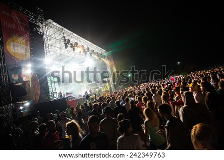 JAZ, MONTENEGRO - JULY 16: Audience infront of the Main Stage at SEA DANCE Festival - EXIT ADVENTURE, during DJAJKOVSKI & TK WONDER performance, on July 16, 2014  at beach Jaz near Budva, Montenegro.