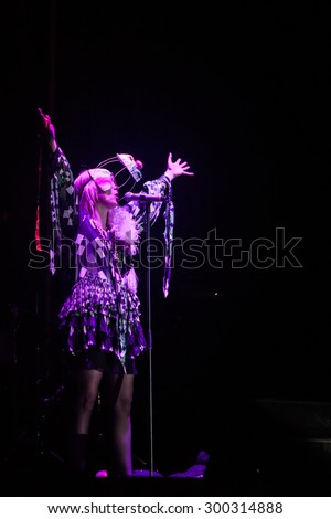 JAZ, MONTENEGRO - JULY 17 2015: Roisin Murphy performs at SEA DANCE Music Festival - EXIT ADVENTURE, on July 17, 2015 at the Jaz beach near Budva, Montenegro. - stock photo
