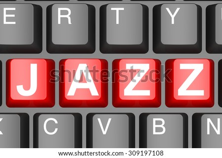 Jazz button on modern computer keyboard image with hi-res rendered artwork that could be used for any graphic design.